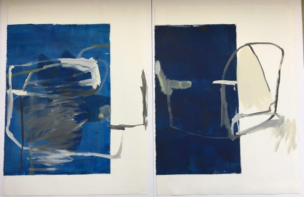Blue Monoprint Pair