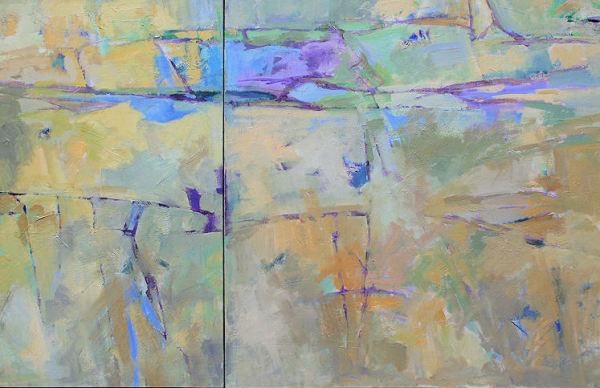 Johnson Creek, Blue, Green, Violet (diptych)