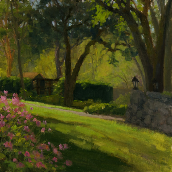 Light And Shadow In Benbow Gardens   (12 x 12, plein air)