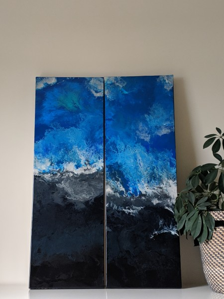 Raging Sea and Stormy Shores-Sold