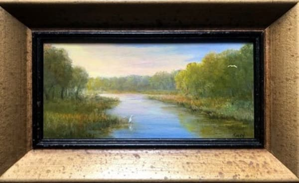 Marsh with egrets, mini 4x8