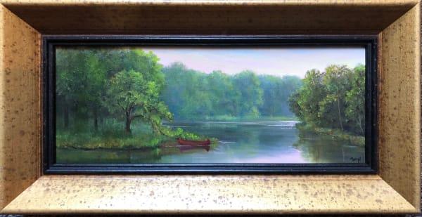 Tethered Red Canoe panoramic painting