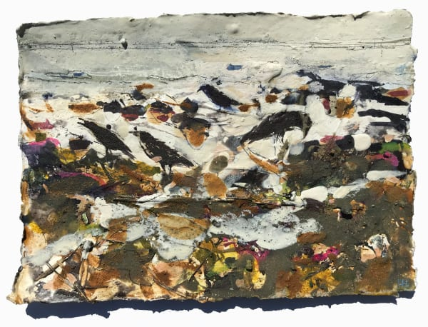 CROWS FORAGING ALONG THE RETREATING TIDE LINE
