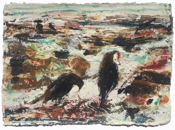 Crows Foraging at Low Tide