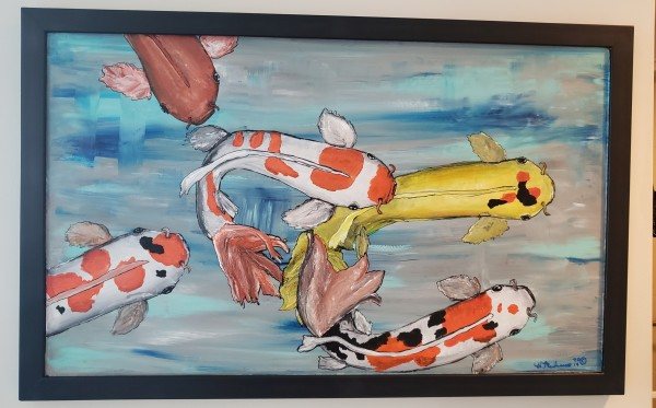 Koi fish #2 on wood, black frame