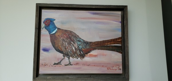 1 Pheasant  w/peach abstract background with barnwood frame