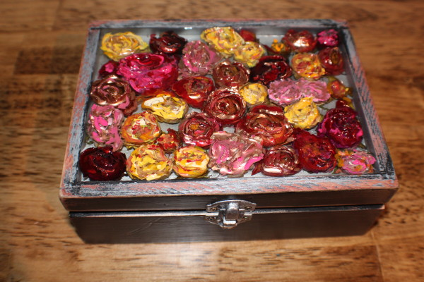 Resin  Rose Rectangle Trinket box