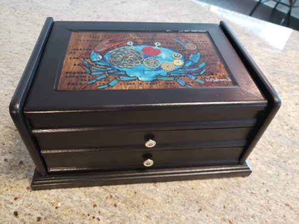 Blue Crab Steampunk 3 tier trinket box.