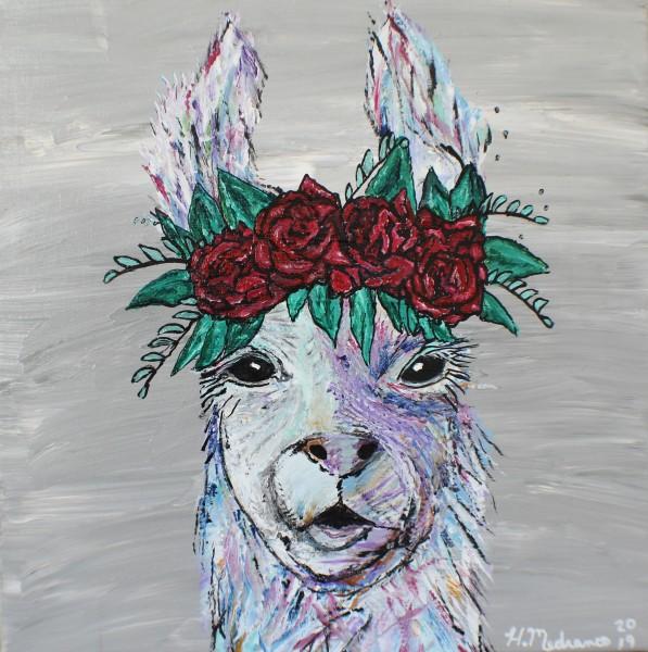 Flower wearing llama