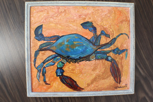 Blue crab painted on wood- gray frame