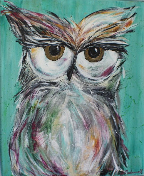 Princeton Owl -on wood w/silver frame