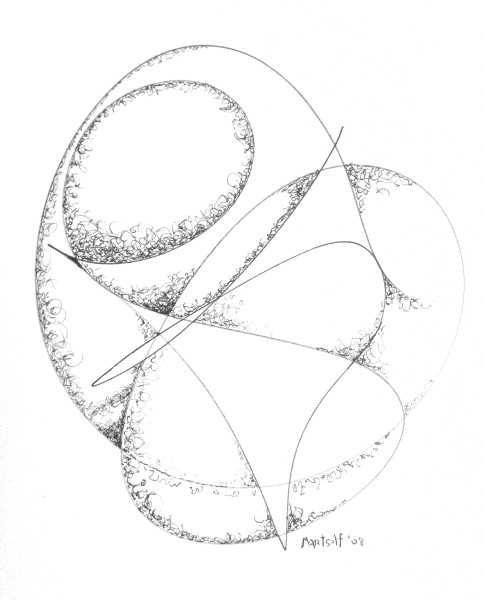 "Polished Convolutions, the drawing that resulted in ""The Millennium Stone"""