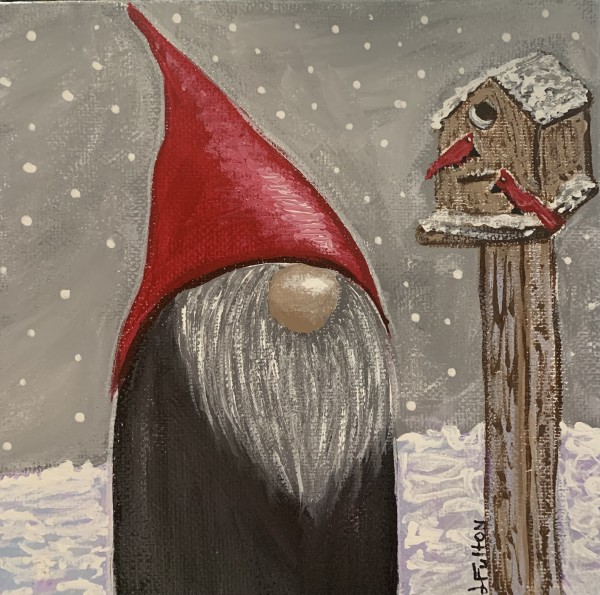 Winter gnome and cardinals