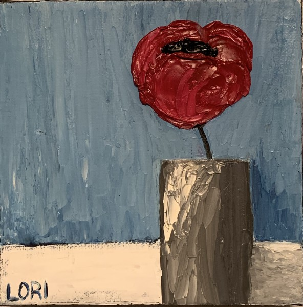 Poppy in a Gray Vase