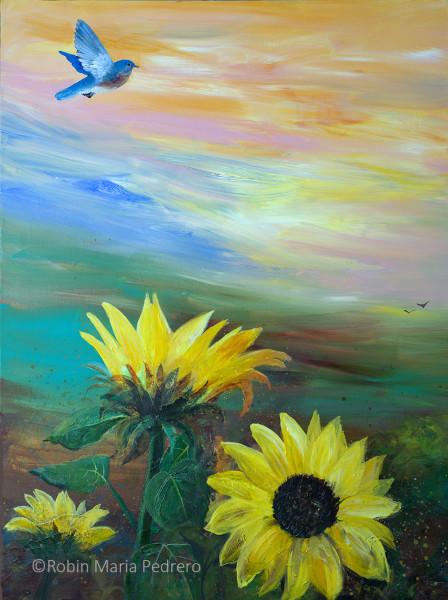 Bluebird flying over Sunflowers