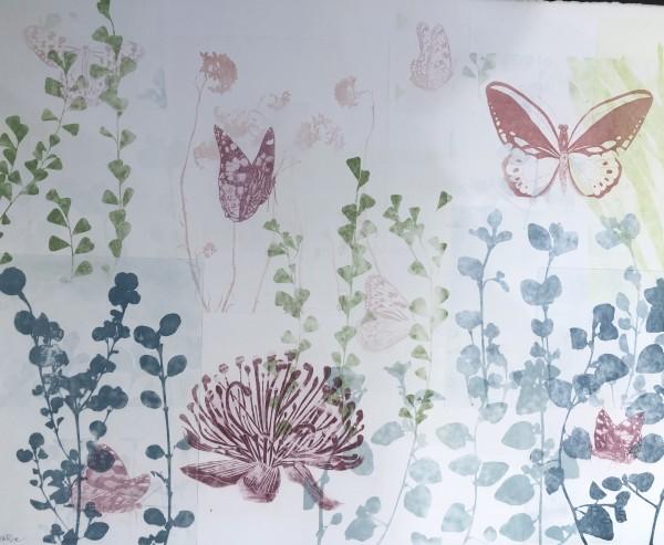 Seven pink butterflies and a Waratah