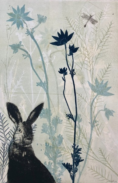 The hare amongst the alpine flowers