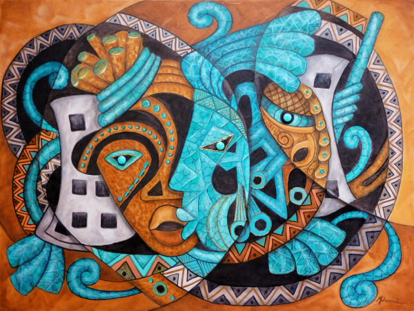 Maruvian Turquoise, Copper and Silver Masks