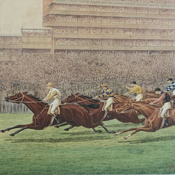 Sainfoin Winning the 1890 Epsom Derby