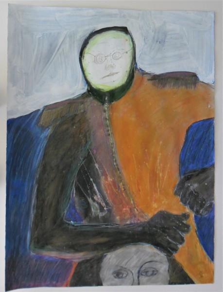"""Hooded Orange Man on Head"" by Jim Bess"