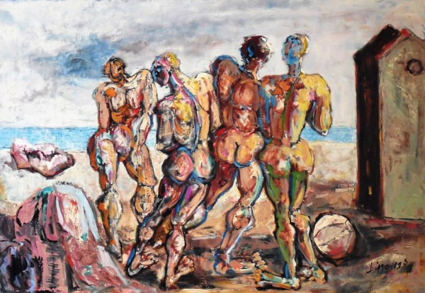 """Hommes sur la Plage"" (The Bathers) by Antonio Diego Voci #C22"