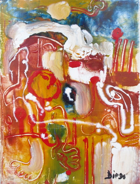 """Abstract Composition"" Glass Paint by Antonio Diego Voci #C29"