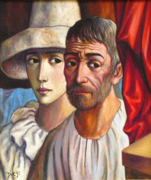 """Old Man with Harlequin"" by Antonio Diego Voci #C5"