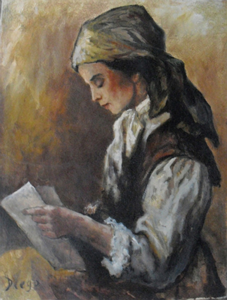 """Girl Reading"" by Antonio Diego Voci #C57"
