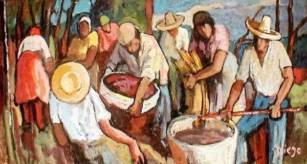 """Farmers (Teneriffa Spain in the Canary Islands)"" by Antonio Diego Voci #C86"