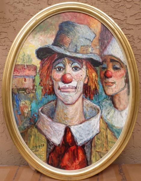 """Clown with Hat"" (Oval Frame)by Antonio Diego Voci #C91"