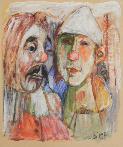 """Two Colorful Clowns"" by Antonio Diego Voci  #CD10"
