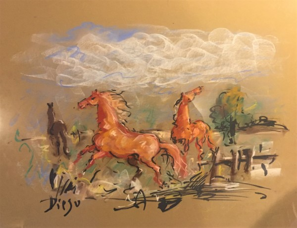"""Horses in Pastel"" by Antonio Diego Voci  #CD39"