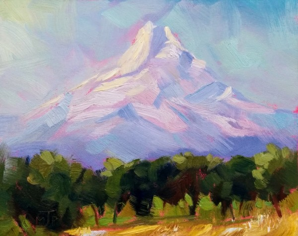 Mt Hood from a Pear Orchard