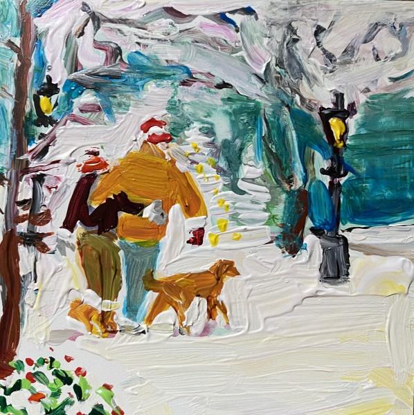 Snow walking in love