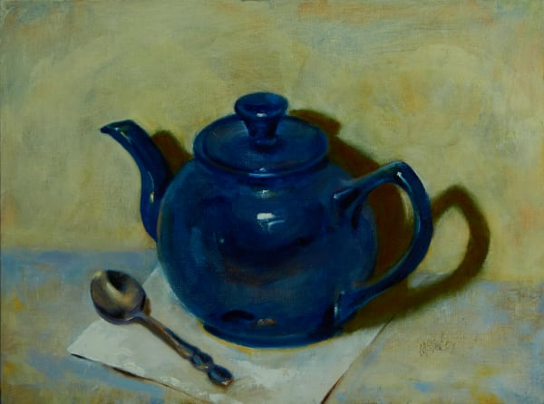 Blue Teapot with Spoon