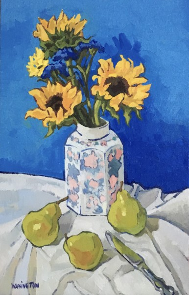 Three Sunflowers & Pears