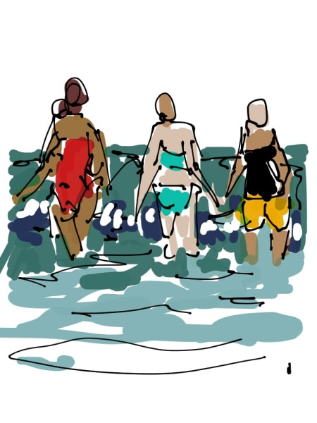 2019 - 3 Women at the Beach Rural Sketch #2 of 5