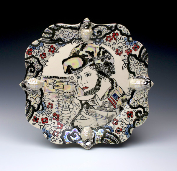 America, The Beautiful, Porcelain, Mishima, Underglaze, Glaze, Platinum and Mother of Pearl Luster