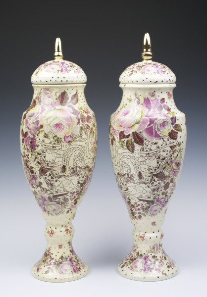 Ashes of Roses Urn Vases, Pair