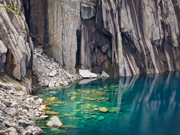 Submerged Boulders, Lake, and Cliffs