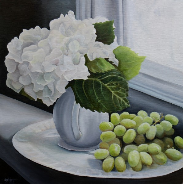 White Hydrangea with Green Grapes