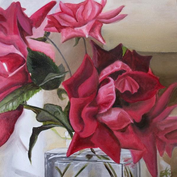 Roses in Glass Bottle II