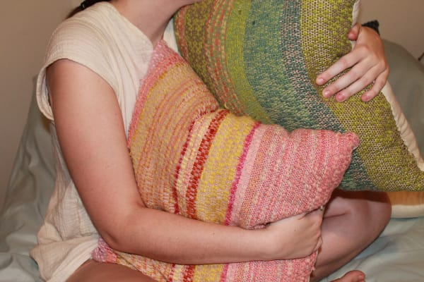 Pink and Green Scrap Yarn Pillows