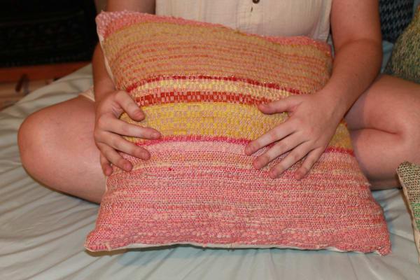 Pink Scrap Yarn Pillow