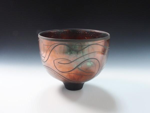 Copper Red Graffiti Bowl