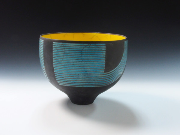 Turquoise & Yellow Graphic Bowl