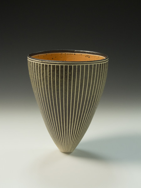 Vertical Stripes Orange Vase