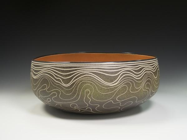 Topographic Green/Orange Bowl