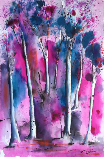 Tall trees with pink