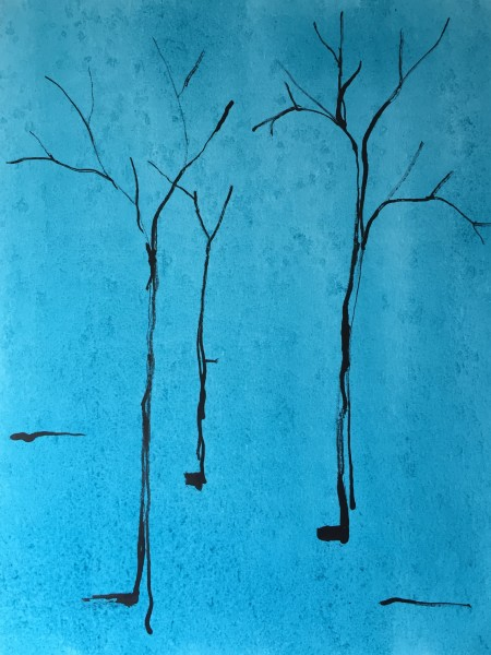 Saplings on blue